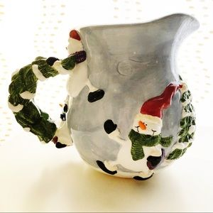 Ganz Snowmen Winter Pitcher Blue With Raised 3D